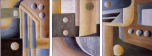 3 x Abstrakt av Birgitta Lindgren