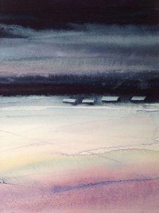 4 februari kl 04, akvarell av Lilian Olsson