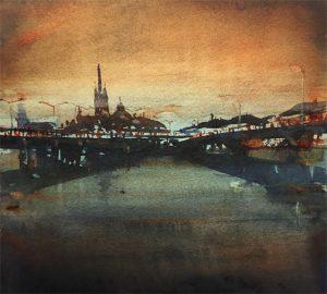 Bridges Of Stockholm i akvarell av Björn Bernström