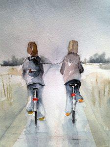 Då trampar vi vidare, akvarell av Lilian Olsson