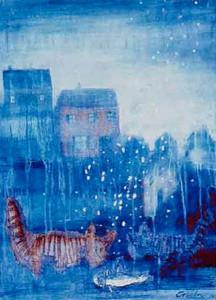 Stadskatter, akvarell av Gisela Linder