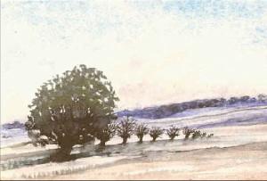 Landskap, akvarell av Gisela Linder