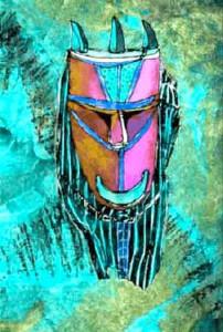 Mask, akvarell av Gisela Linder