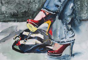 High Heels, akvarell av Ewa Helzén