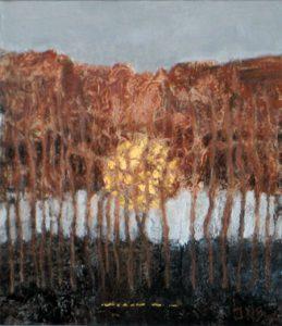 Solvarv i akryl/blandteknik av Inga Bandelin