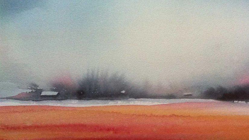 Flammande höst i akvarell, av Lilian Olsson