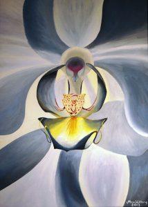 Orchidé, olja av Mona Wikborg