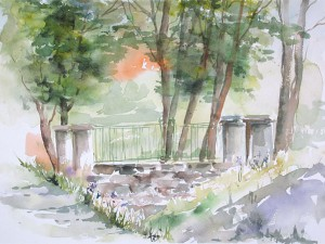 Parken, akvarell av Kerstin Larsson