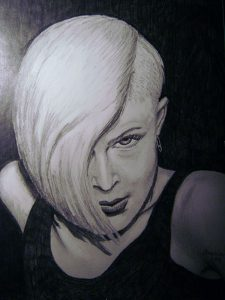 Porträtt, olja av Mona Wikborg