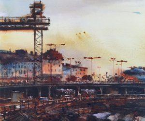 Slussen i akvarell av Björn Bernström