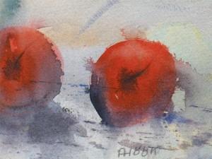 Vinterfrukt, akvarell av Anders Höök