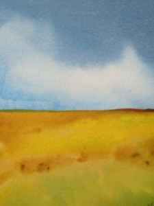 Landskap i akvarell