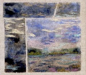 Vattenspeglar, broderi av Berit Eriksson
