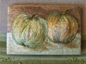 Äpplen, broderi av Berit Eriksson