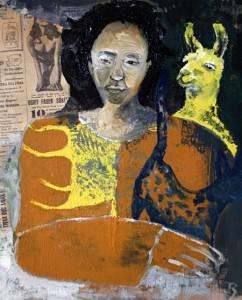 Kollage med lama, av Jonna Rosengård