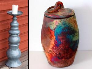 Pidestal och kopparmatt urna av Marie Norée