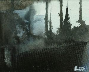 Skogsljus, akvarell av Anders Höök