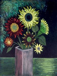 Solroser, pastell av Eleonore Vognsgaard