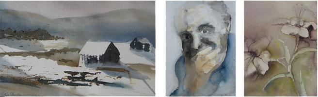 Kollage av akvareller av Irja Brodin