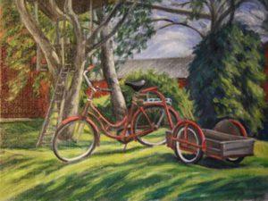 Cykel med kärra, olja av Odd Sandberg