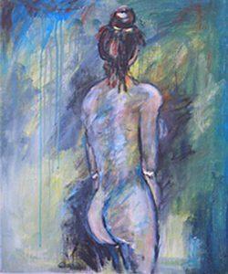 Nakenstudie i akryl av Else-Marie Widén