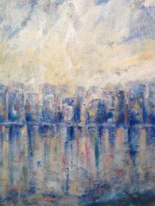 Cityscape i akryl av Marie Engström