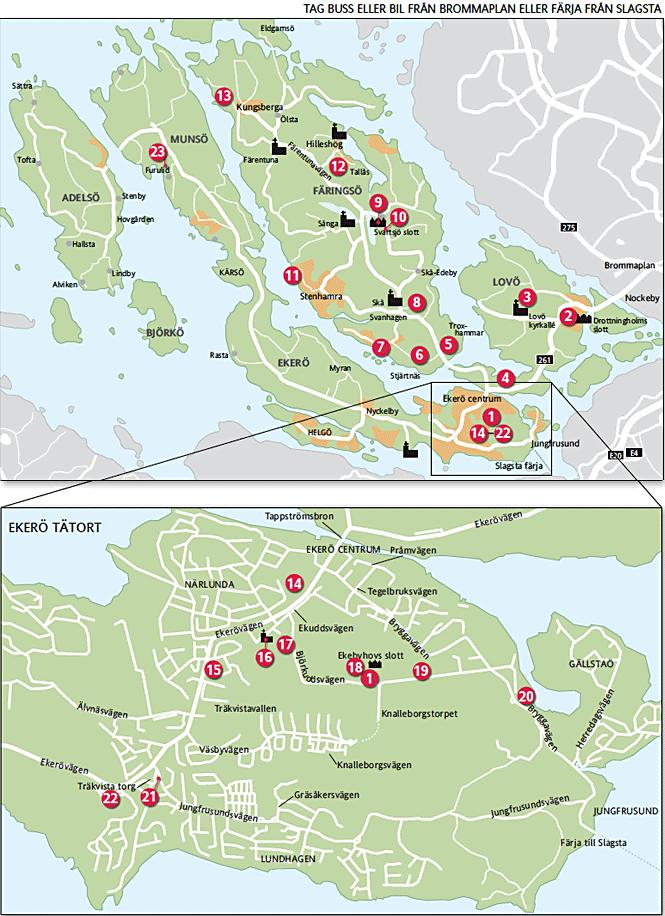 Karta över Konstringens utställningsplatser, 2019