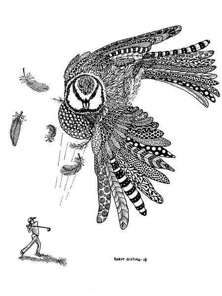 Birdhead 2 i tusch av Bernt Gilting