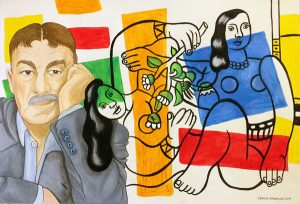 Leger och damer, akvarell av Lena Hellström-Sparring