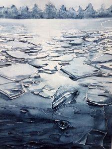 Is, akvarell av Monika Sahlström